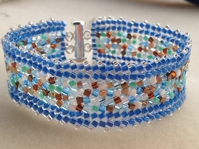 Sea glass Inspired Herringbone Stitch Bracelet