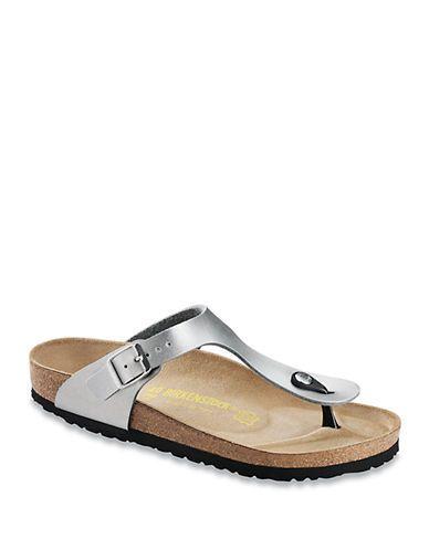 Birkenstock Gizeh Birko-Flor T-Strap Sandals Women's Silver 9M