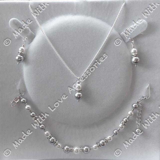 Pearl Necklace Set - Pearl Necklace - Pearl Bracelet - Pearl Earrings - Bridal £49.99