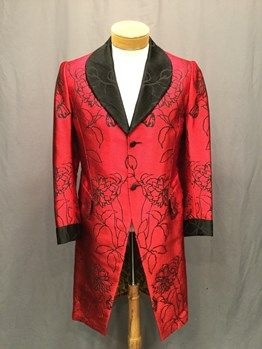 20th, century, tuxedo, tail, coat, men, c38, red, black, yellow, grey, jacquard, black, lapels, and, collar, single, breasted, with, two, buttons, center, front, pockets, on, waist, one, vent, center, back, yellow, leopard, print, lining, good, faille, modern - OSF Costume Rentals