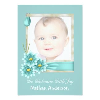 Teal Daisy Baby Boy Photo Birth Announcement