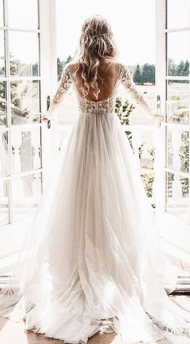 See through long sleeve lace rustic wedding dresses. #bohowedding #bohoweddingdresses #weddingdresses #weddingdress #weddings #weddinginspiration  #beachwedding #vintagewedding #longsleeveweddingdress #laceweddingdresses #rusticweddingdress #winterwedding – Happy Day