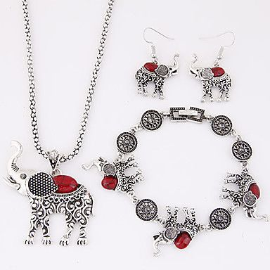 $5.99--RED--Women's Jewelry Set Luxury Cute Style European Party Birthday Engagement Gift Daily Casual Resin Turquoise Alloy Elephant Animal Earrings 4825789 2018 – $5.99