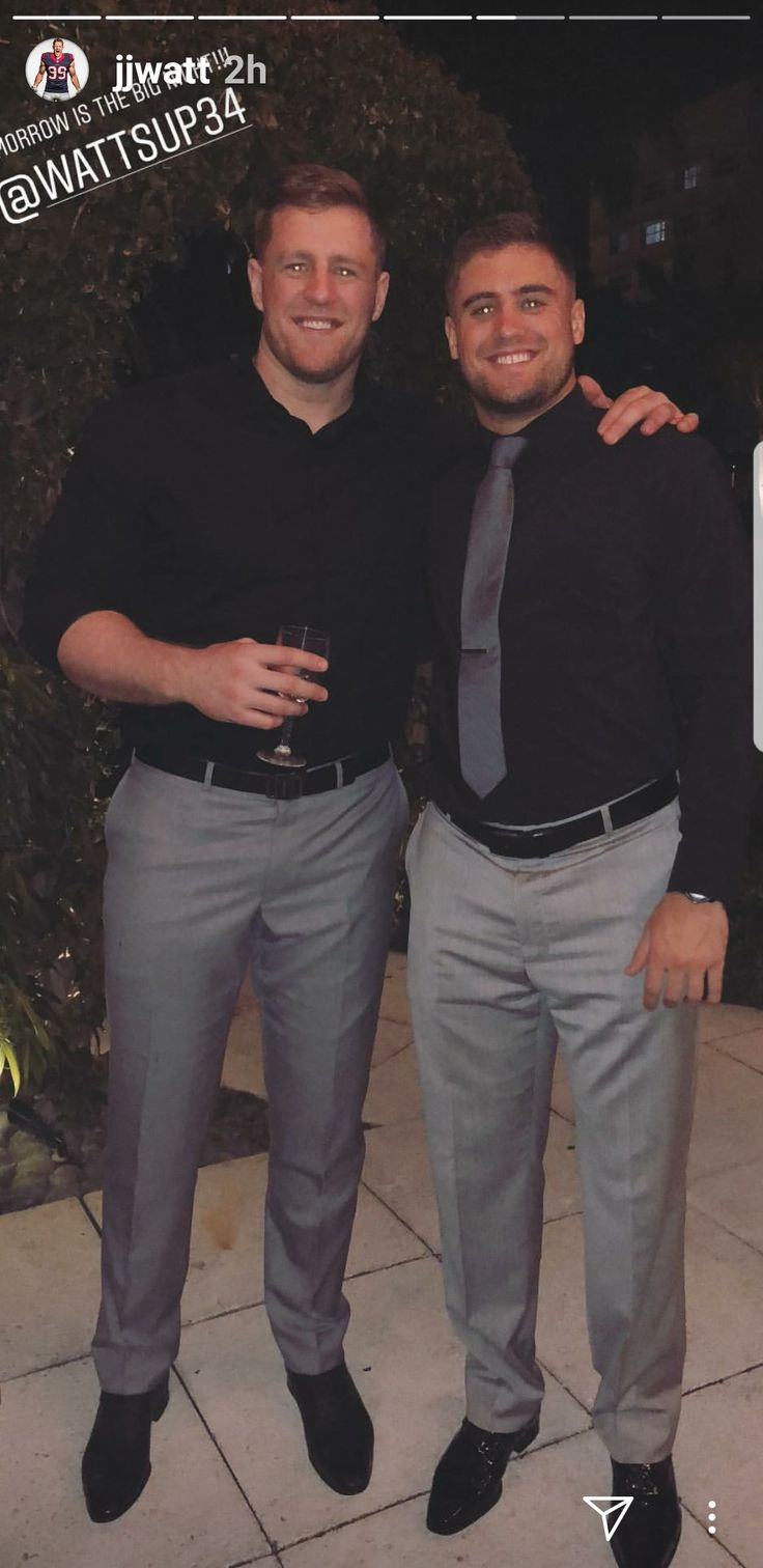JJ Watt's Instagram- 2.16.18 - Derek & JJ day before the wedding - #TyingTheWatt #DreamBigWorkHard #HuntGreatness #JustinCredible #JustAKidFromPewaukee