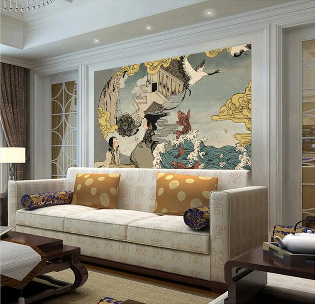16 best papier peint japonais images on pinterest japanese taste tapestry and taylormade. Black Bedroom Furniture Sets. Home Design Ideas