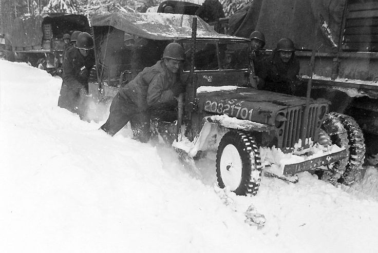 The WWII 300th Combat Engineers 300th Engineers Co. A stuck in snow, Belgium, January 29, 1945 http://www.300thcombatengineersinwwii.com/belgium.html