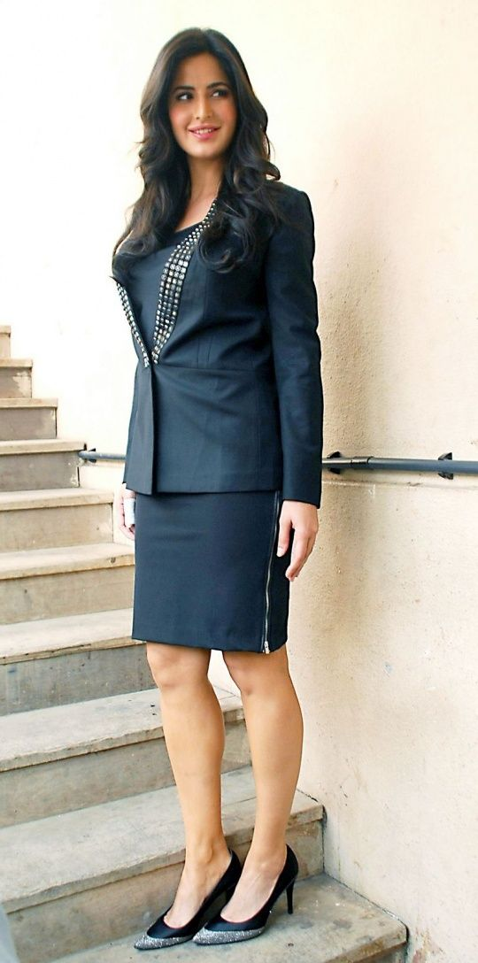 Katrina Kaif stepped out looking like a very sexy secretary in a smart suit to promote 'Bang Bang'. #Bollywood #Fashion #Style #Beauty