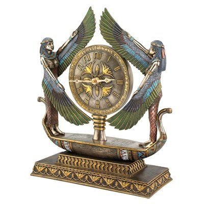 Basil Street Gallery Wings of Isis Egyptian Revival Sculptural Table Clock