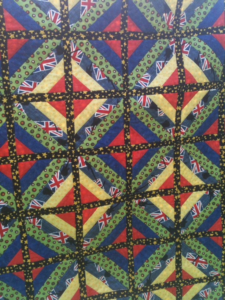 Griffin's quilt, Fun & Done, quilt as you go, QAYG close up