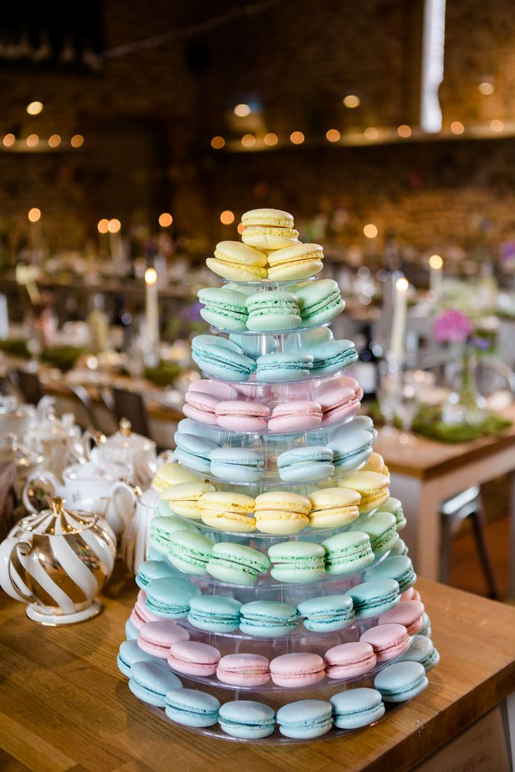Pastel Macaroon Tower | Back To The Garden Wedding Venue in Norfolk | Enchanted Garden Theme | Justin Alexander Bridal Gown | Pastel Bridesmaids | Lydia Stamps Photography | http://www.rockmywedding.co.uk/kerry-steve/