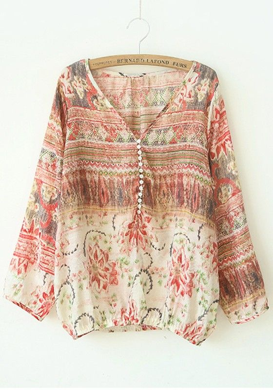 Thinking Spring! Beautiful Red Floral Print V-neck Long Sleeve Cotton Blend Blouse #floral #print #Spring #Summer #fashion