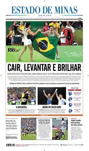Capa do jornal Estado de Minas desta Segunda-feira, 15 de Agosto de 2016