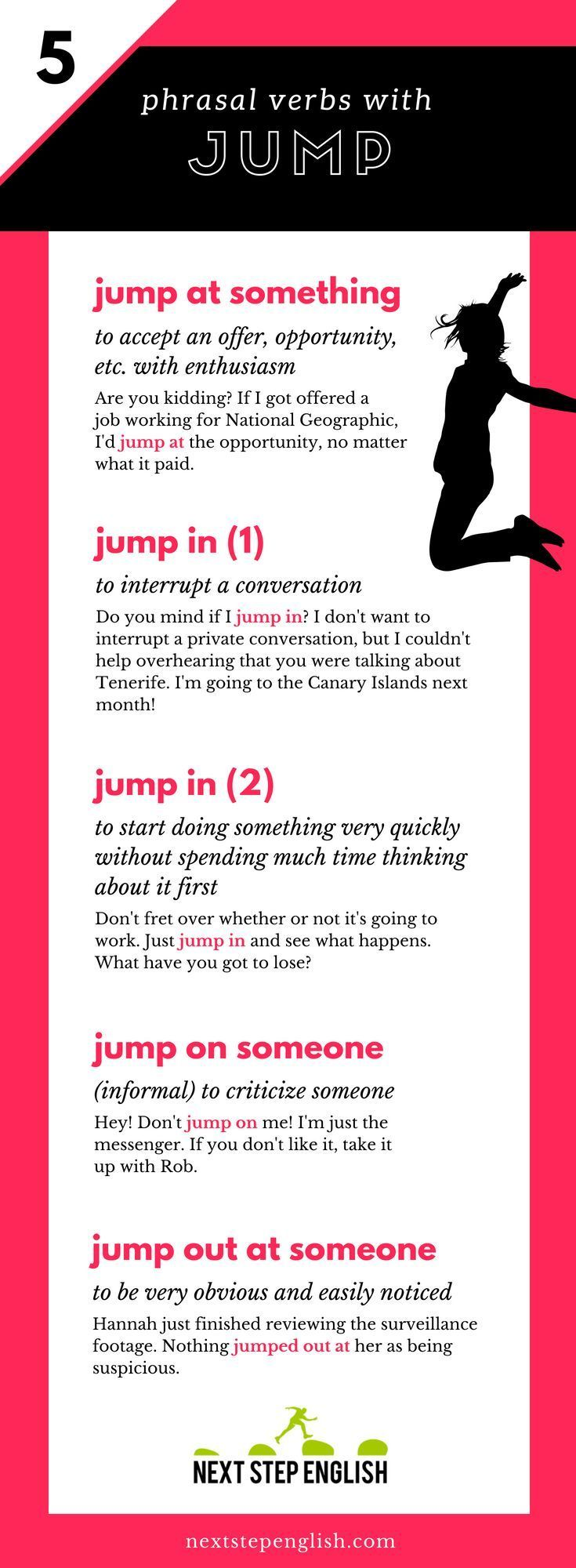 5 Fun Phrasal Verbs With Jump Infographic And Practice Quiz Nextstepenglish Com Learn English Vocabulary Advanced English Vocabulary English Lessons [ 2000 x 735 Pixel ]