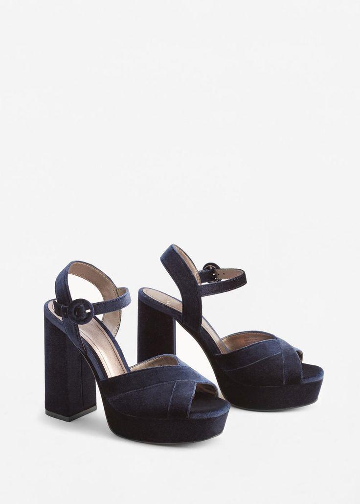 Sandales plateforme velours   MANGO