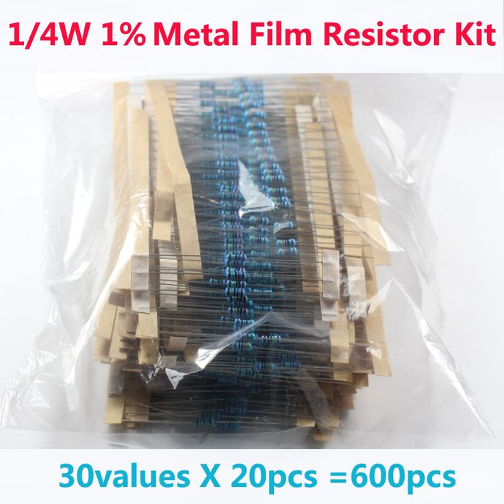 Free Shipping 600 Pcs 30 Kinds Each Value Metal Film Resistor pack 1/4W 1% resistor assorted Kit Set