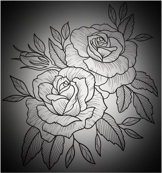 Black and white outline of two roses with leaves