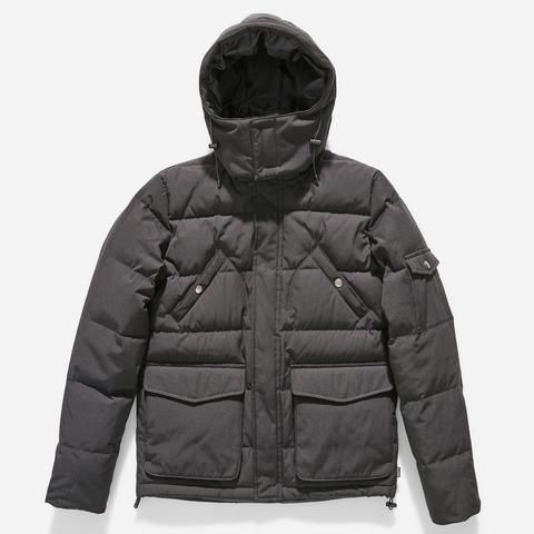 Quilted down jacket made with cotton / nylon fabric with a removable hood, Inset rib cuff, Front and arm patch pockets.