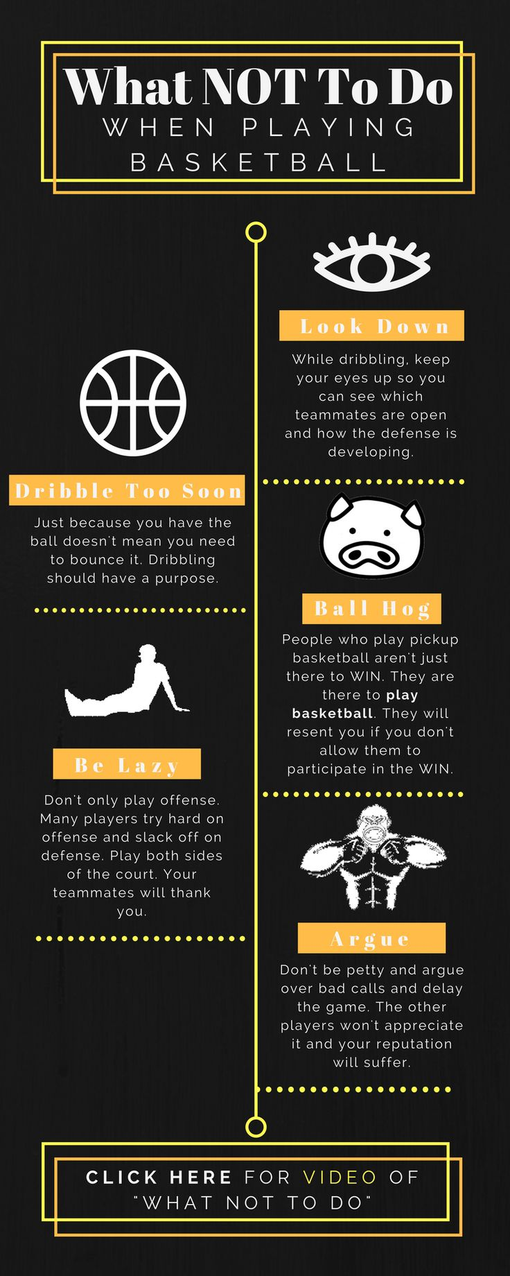 "What NOT To Do When Playing Pickup Basketball -- Click image to see ""What NOT To Do"" Video https://youtu.be/LtVZtM72mpI"