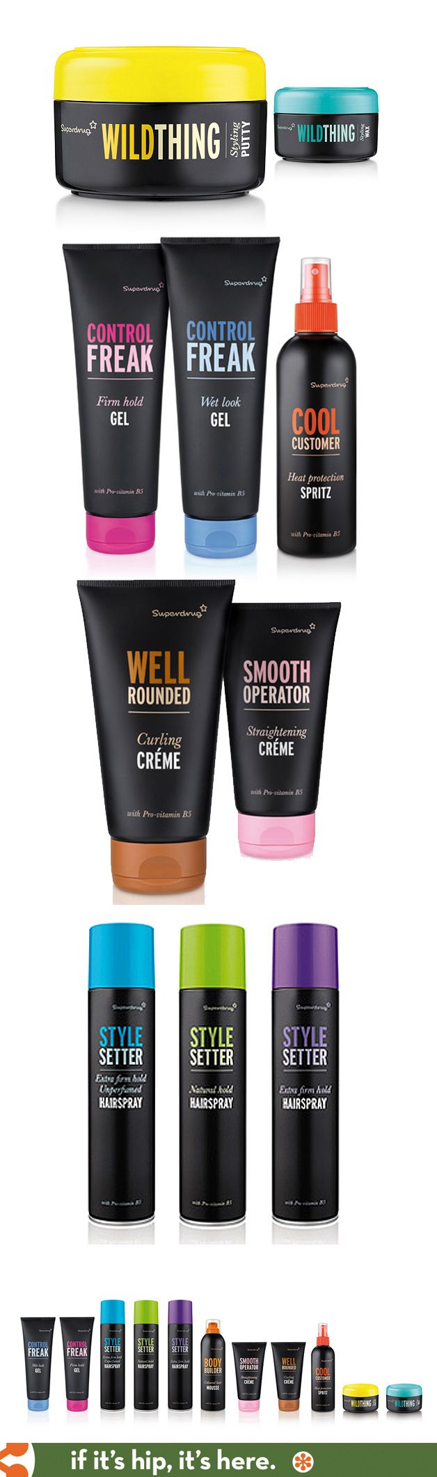Clean and colorful packaging for Superdrug's own line of Hair Care by Biles, Inc.