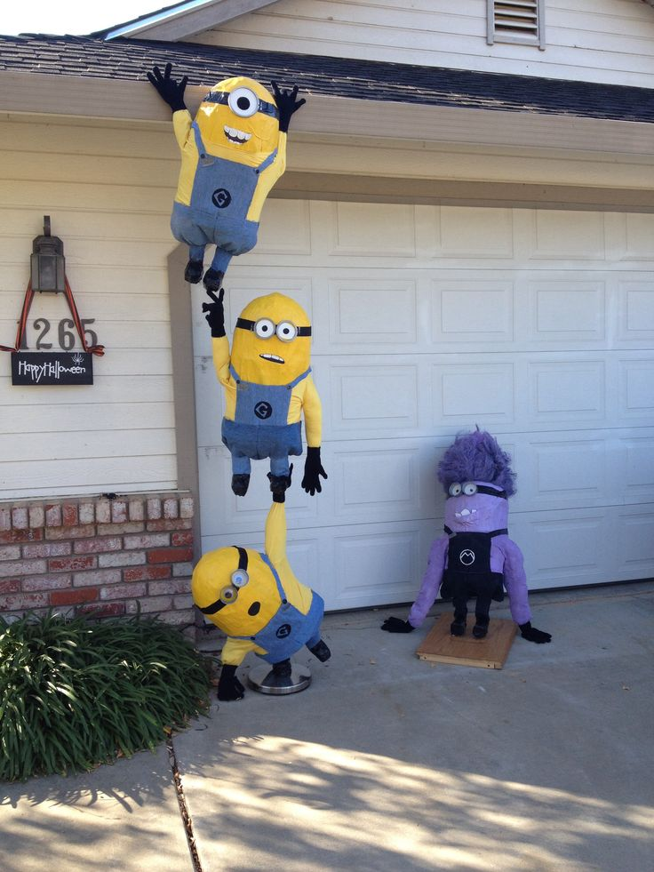 Minions I made for this years scarecrow contest at Linclon School