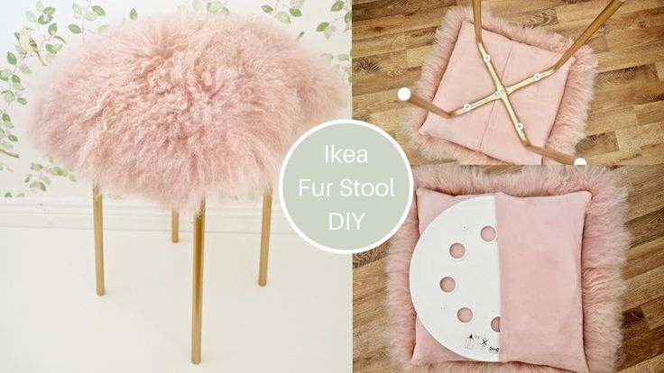 Ikea Marius Hack Pink Fur Stool Diy With Gold Legs