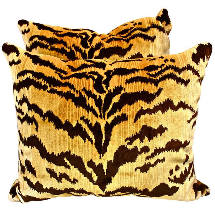 """Pair of Scalamandre """"Le Tigre"""" Silk Velvet Pillows 