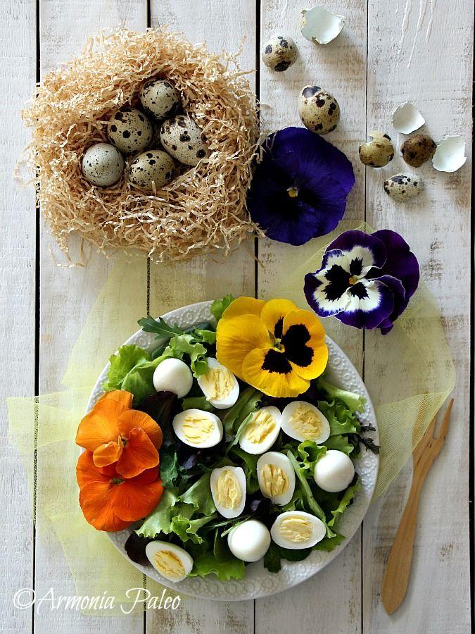 Insalata di Primavera con Fiori e Uova di Quaglia