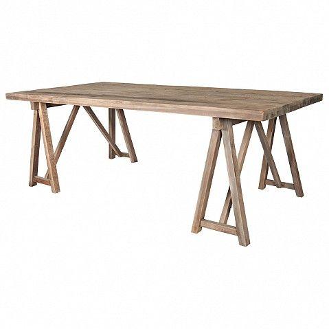 Bleached pine trestle table - 214cm x 102cm x 78cm - Trade Secret