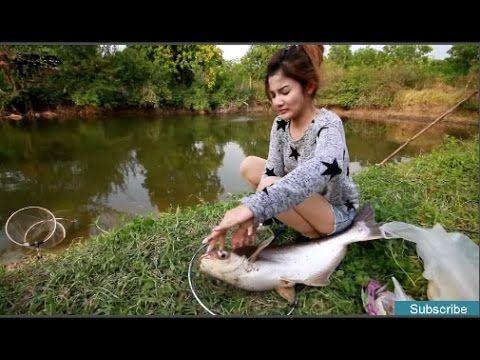 Amazing Beautiful girl fishing net-Beautiful girl fishing at Bathambang-...