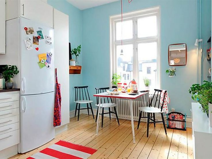 sala de jantar pequena junto a cozinhaDining Room, Kitchens Design, Living Room Design, Blue Wall, Scandinavian Kitchen, Interiors Design, Design Kitchen, Modern Kitchens, Retro Kitchens