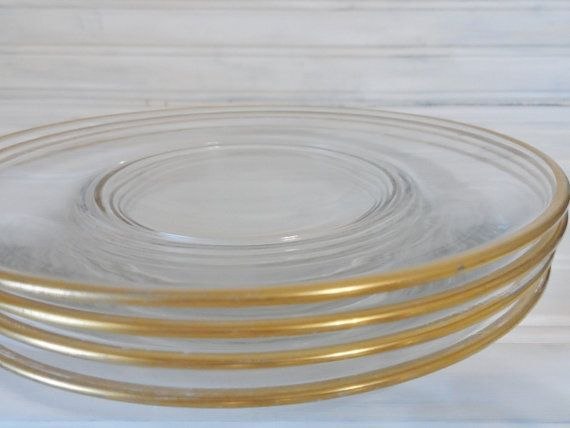 Clearly Chic-4 Vintage Clear Gold Trimmed Plates-Kitchen-Serving-Plates -Glass-Gold-Vintage-Cottage Chic & 12 best clear plate gold trim images on Pinterest | Dish Plate and ...