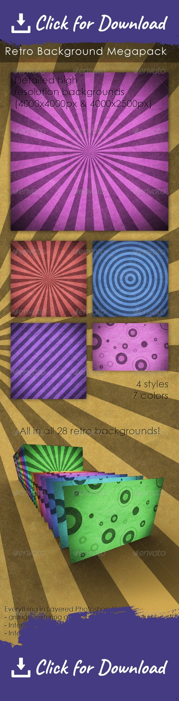 antique, background, burst, grunge, grunge background, rays, retro, retro background, starburst, stripes, sunburst, texture, twitter, vintage, vintage background Retro / Vintage Background - High resolution Photoshop files (4000×4000px & 4000×2500px) - Layered editable files let you adjust the texture and vignette as you like - 4 different styles and 7 different colors - All in all 28 different retro backgrounds!