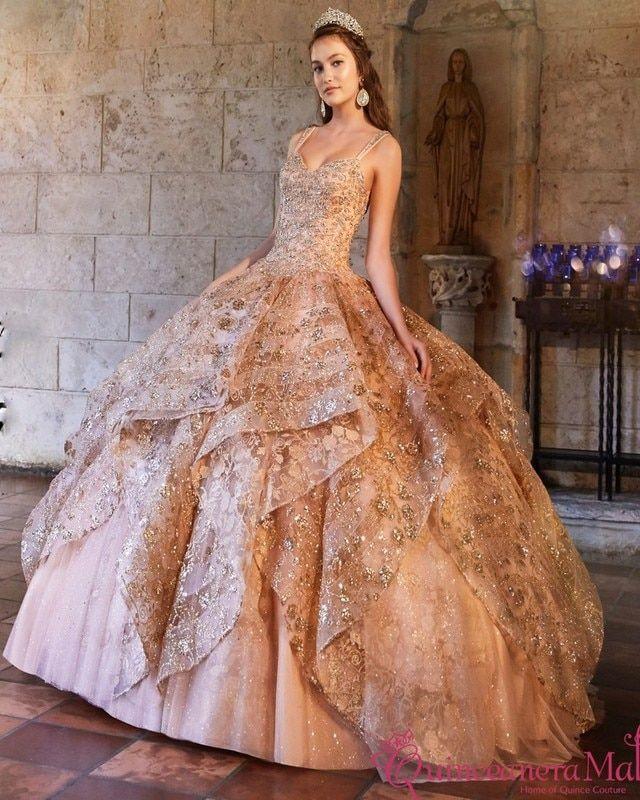 Rose Gold Quinceanera Dress Pr21951r Quinceanera Dresses Gold Quince Dresses Quinceanera Dresses