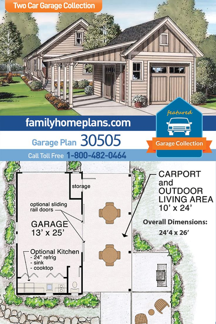 Traditional Style 2 Car Garage Plan Number 30505 in 2020