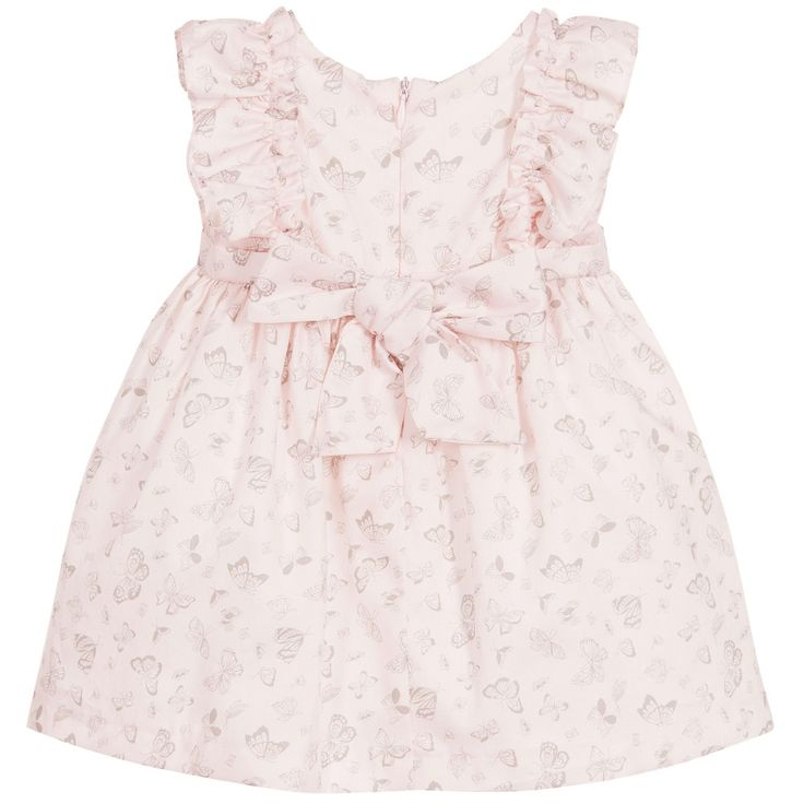 Girls pale pink cotton dress by Patachou. With a delicate grey butterfly print and ruffles around the arm openings. The dress is fully lined, gathered from the waist, has a detachable bow at the back and fastens with a concealed zip.