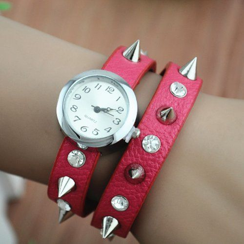 MagicPiece Handmade Vintage Style Leather Watch For Women Rivetand Rhinestone Belt in 5 Colors: Red: Watches: Amazon.com
