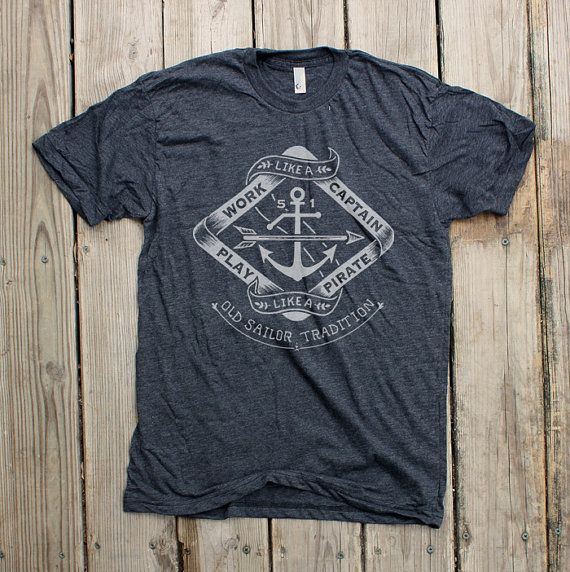 Play like a Pirate Mens/Unisex Heather Black Tshirt by Monorail, $26.00