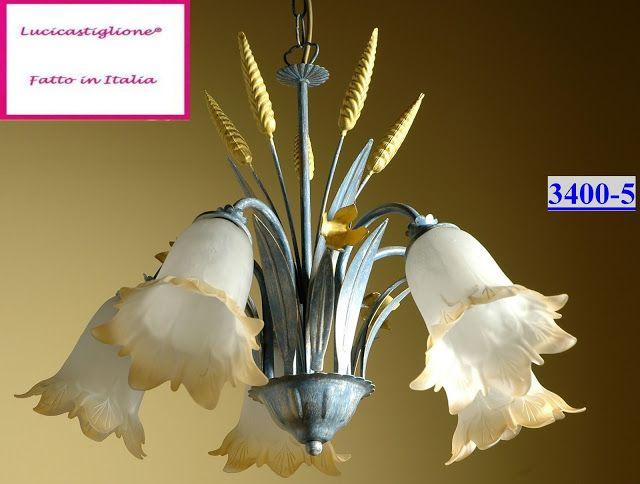 Lampadari Rustici : 3400/5 lampadario in ferro battuto cinque luci € ...