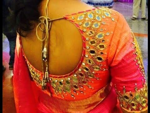 latest designered mirror work blouses - YouTube