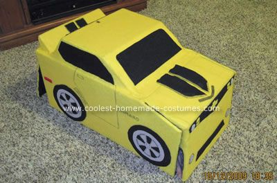 Bumblebee Transformer Halloween Costume: My child wanted to be a Transformer that transformed. After doing a lot of research and trying different ideas we came up with this Bumblebee Transformer
