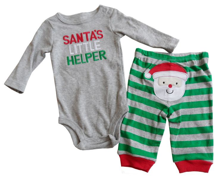 new CARTER'S baby boys 3 mo SANTA'S LITTLE HELPER CHRISTMAS BODYSUIT & PANTS nwt #Carters #Holiday