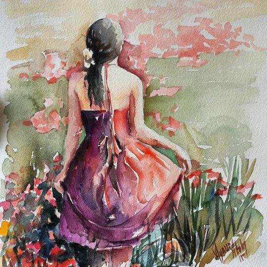 Watercolor by Aynur Akalin Girl..