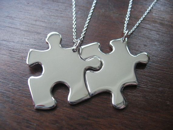Two Silver Puzzle Piece Pendants by GorjessJewellery on Etsy, £80.00