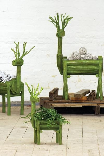 large lime green wooden deer planter | Christmas décor. Have the large size and it's not just for Christmas.