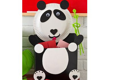 Panda Bear Valentine Card Holder use cereal box