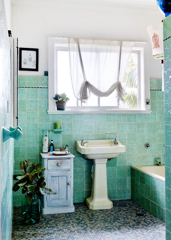 Sydney Home · Ozzie Wright, Mylee Grace Fitzgerald and Family. Original 1930′s bathroom! 'I love the original green tiles in our bathroom and the deep ceramic bath with a fish head spout' says Mylee. Photo - Sean Fennessy, production – Lucy Feagins / The Design Files.