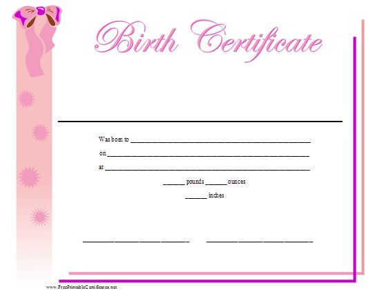 A Printable Birth Certificate For A Baby Girl, Featuring A Ribbon And  Pretty Pink Design