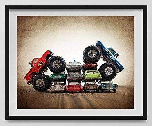 Vintage Monster Trucks Car Crush Bigfoot Vs. Awesome Kong, Boys room Wall art, Photo Decor, Monster truck room, Nursery decor, Kids Room Wall Art.