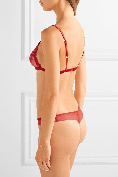 La Perla - Floral Vibes Satin-trimmed Embroidered Tulle Soft-cup Triangle Bra - Crimson - 34C