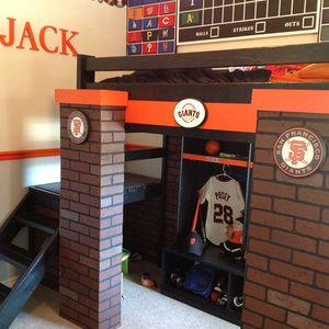 Check out this project on RYOBI Nation - I followed Ana White's Camp Loft Bed with Stair plans, then added pillars with brick facade to them to create a San Francisco Giant's themed bedroom for my nephew. I also built Ana's Pure bond Children's locker for storage of his baseball gear underneath.  Finally, a homemade, hand-painted scoreboard rounded out the project.  I couldn't have done it without my Ryobi cordless tools.